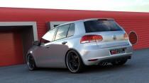 Maxton Design Spoiler zadního nárazníku s výřezem na 1 dvojitou koncovku výfuku VW Golf VI  - texturovaný plast
