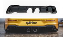 Maxton Design Spoiler zadního nárazníku s koncovkami výfuku (vzhled R32) VW Golf VIII - černý lesklý lak