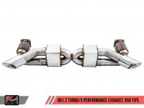 AWE Tuning Sportovní výfukový systém pro Porsche 911 991.2 Turbo & Turbo S 3.8T - RSR Leštěné koncovky