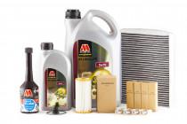 Servisní set pro neupravený motor Millers Oils 5w30 + Engine Flush, Zapalovací svíčky a originálního olejový a kabinový filtr pro 1,8 & 2.0 TSI 162/169kW