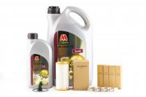 Servisní set pro neupravený motor Millers Oils 5w30, zapalovacích svíček a originálního olejového filtru pro 1,8 & 2.0 TSI 162/169kW