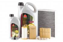 Servisní set pro neupravený motor Millers Oils 5w30, zapalovacích svíček, originálního olejového a kabinového filtru pro 1,8 & 2.0 TSI 162/169kW