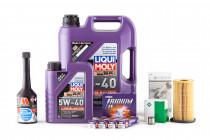 Servisní set pro motor 2,0 TFSI EA113 s LIQUI MOLY 5w40 VW 502 00, Millers Oils Engine Flush, Sportovní zapalovací svíčky, Cam follower a Originální olejový filtr