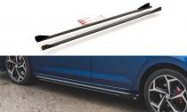 Maxton Design Zesílené prahové lišty Racing s křidélky VW Polo Mk6 GTI - černé + matná křidélka