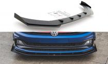 Maxton Design Zesílený spoiler předního nárazníku Racing s křidélky VW Polo Mk6 GTI - černý + matná křidélka