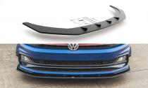 Maxton Design Zesílený spoiler předního nárazníku Racing VW Polo Mk6 GTI - černý