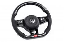 APR Karbonový volant s perforovanou kůží prošitý stříbrnou nití pro DSG VW Golf 7R T-Roc Arteon Polo Up GTI