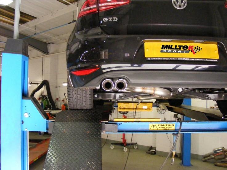 Catback výfuk VW Golf 7 GTD  2,0 TDI Milltek Sport - bez rezonátoru / leštěné koncovky