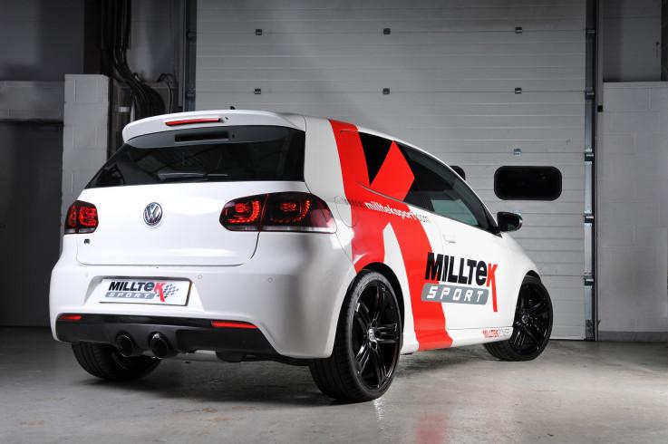 Catback výfuk Race System VW Golf 6 R 2.0 TFSI Milltek Sport - s rezonátorem  / černé koncovky