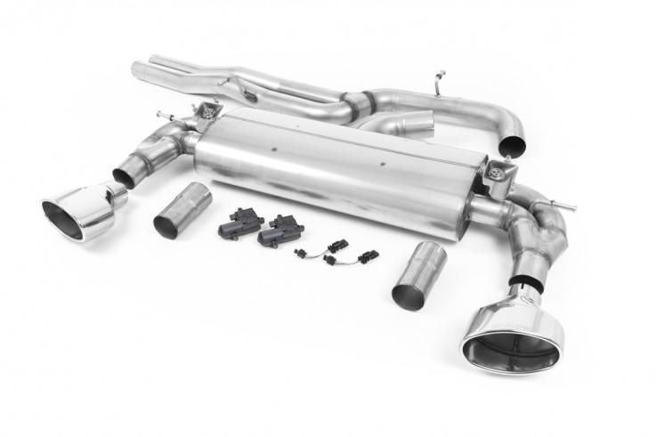 Klapkový Catback výfuk AUDI RS3 8V Sedan 2,5 TFSI Milltek Sport - bez rezonátoru / leštěné koncovky