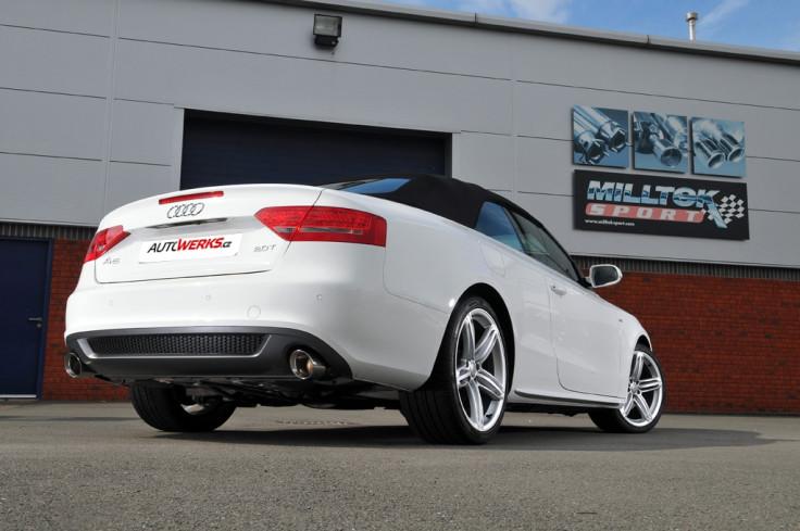 Catback výfuk AUDI A5 Cabrio a Coupé 3.0 TDI Milltek Sport - bez rezonátoru / leštěné koncovky Dual
