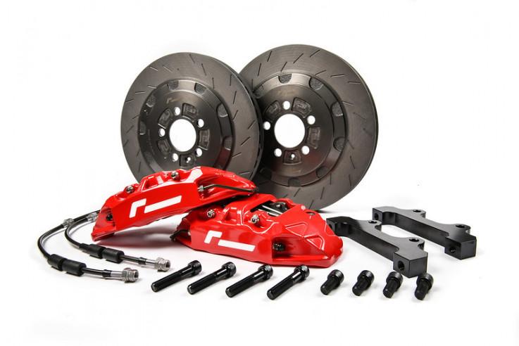 Velké přední brzdy 4 pístkové brzdiče 330x28mm Big Brake Kit BBK VW Polo 6R GTI SEAT Ibiza Cupra 1,8 TSI Racingline Performance - Červené