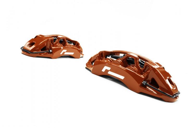 Racingline Performance Brzdový kit s 6ti pístkovými kovanými monoblock třmeny a 380x32mm kotouči Škoda Octavia VW Golf GTI Clubsport R SEAT Leon Cupra AUDI S3 MQB - Červené