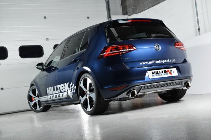 Catback výfuk VW Golf 7 GTI & Performance Clubsport 2,0 TSI Milltek Sport - bez rezonátoru / leštěné koncovky