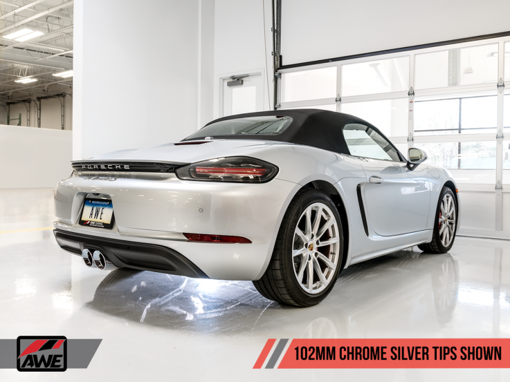 AWE Tuning Touring Edition Catback výfuk pro Porsche Boxster / Cayman (982) - chromované koncovky 102mm